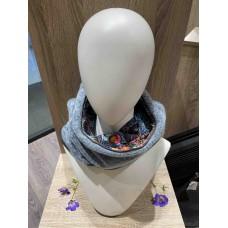 Light Blue Wool/Printed Velvet ''Kapsjaal''