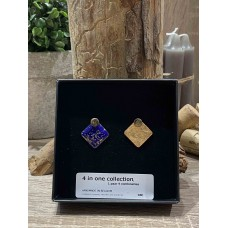 4 in 1 Collection - Gold Enamel/Navy Blue