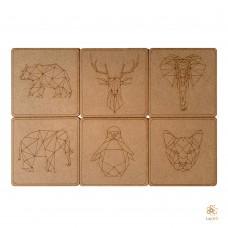 Geometric Animals: Set of 6 coasters