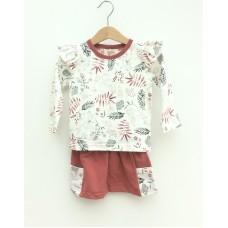 Set Skirt & T-Shirt Long Sleeves - Flowers