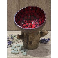 Coconut Bowl Red Mother of Pearl